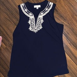 Blue and white embroidered tank top